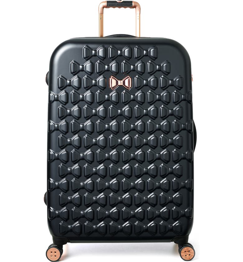 TED BAKER LONDON Large Beau Bow Embossed Four-Wheel 31-Inch Trolley Suitcase, Main, color, BLACK