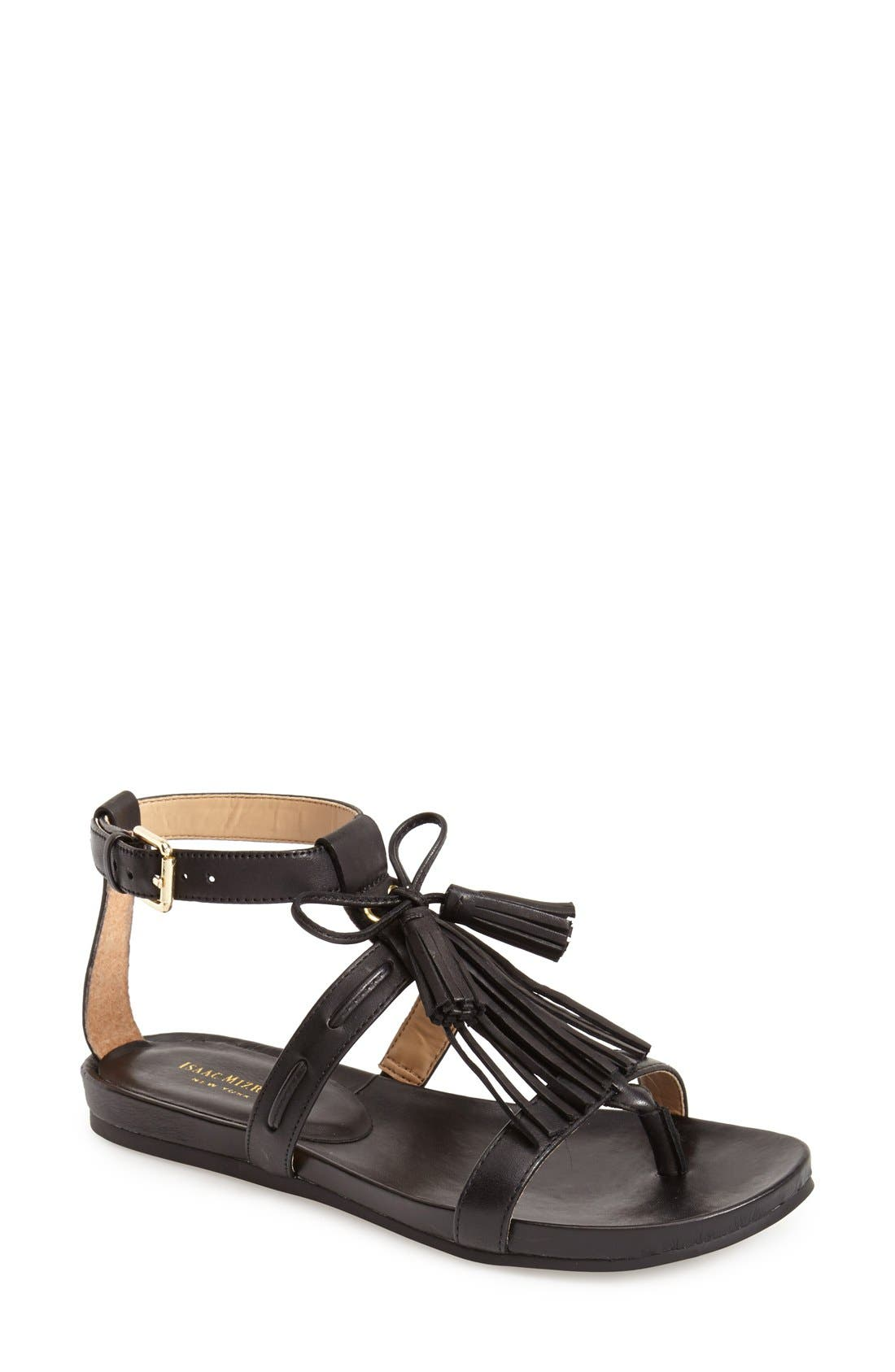 'Primp' Leather Fringe Sandal, Main, color, 001