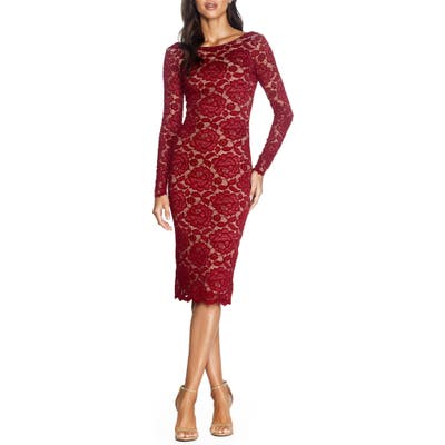 Dress The Population Emery Long Sleeve Lace Cocktail Dress, Red
