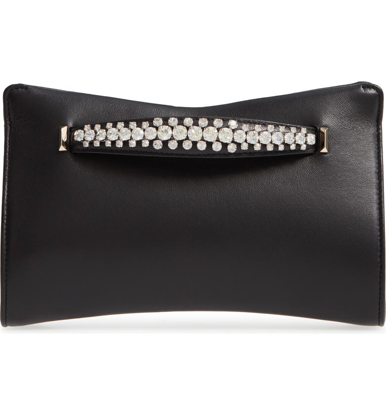JIMMY CHOO Nappa Leather Clutch with Crystal Bracelet Handle, Main, color, BLACK