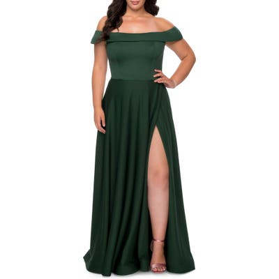 Plus Size La Femme Off The Shoulder Foldover Neckline Gown, Green