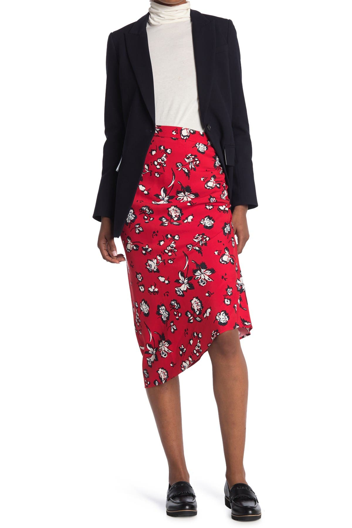 Image of VERONICA BEARD Cheryl Floral Printed Ruched Skirt
