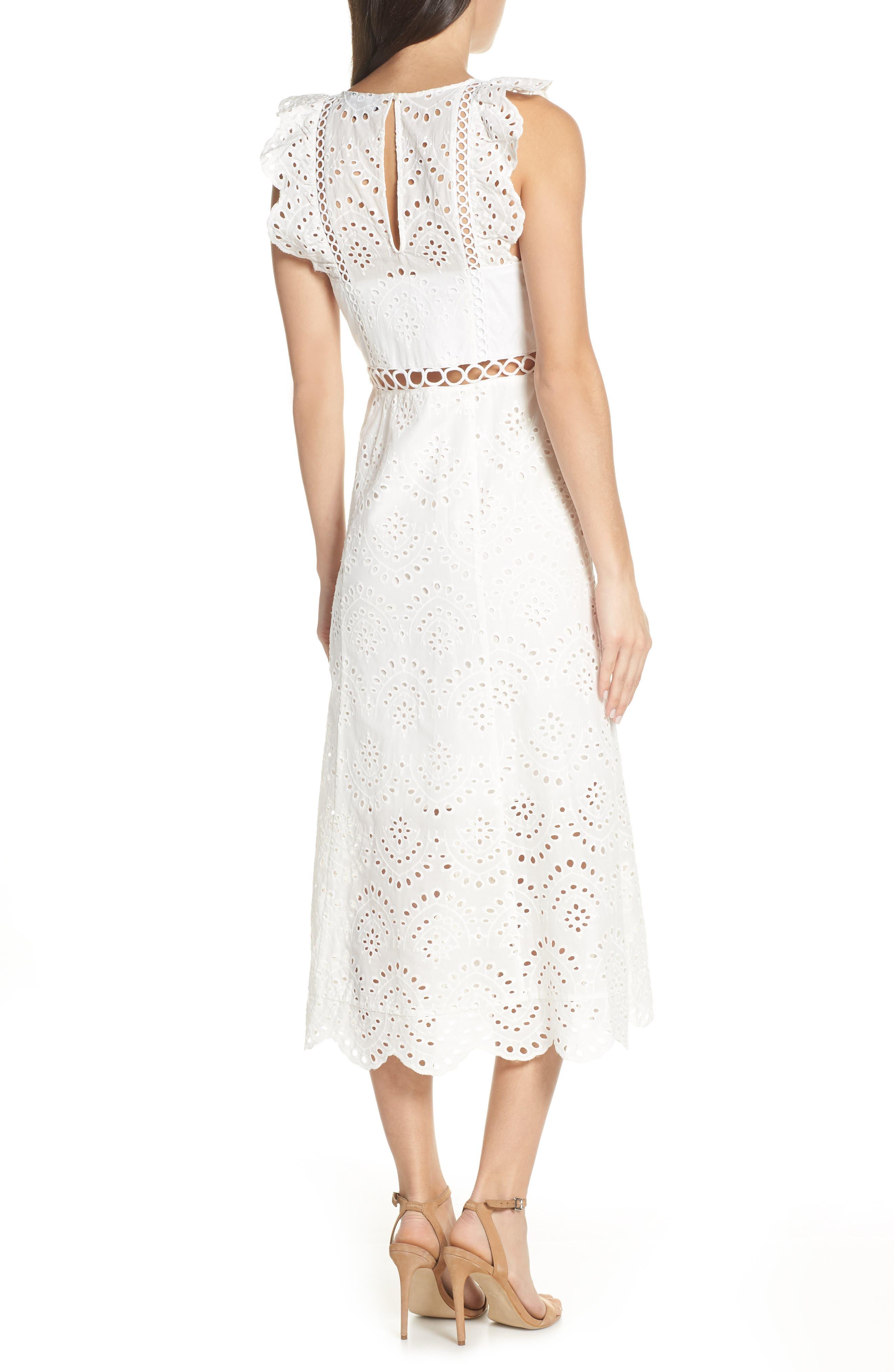 ,                             Eyelet Midi Dress,                             Alternate thumbnail 2, color,                             IVORY