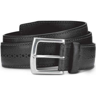 Allen Edmonds Brogue Street Leather Belt, Black