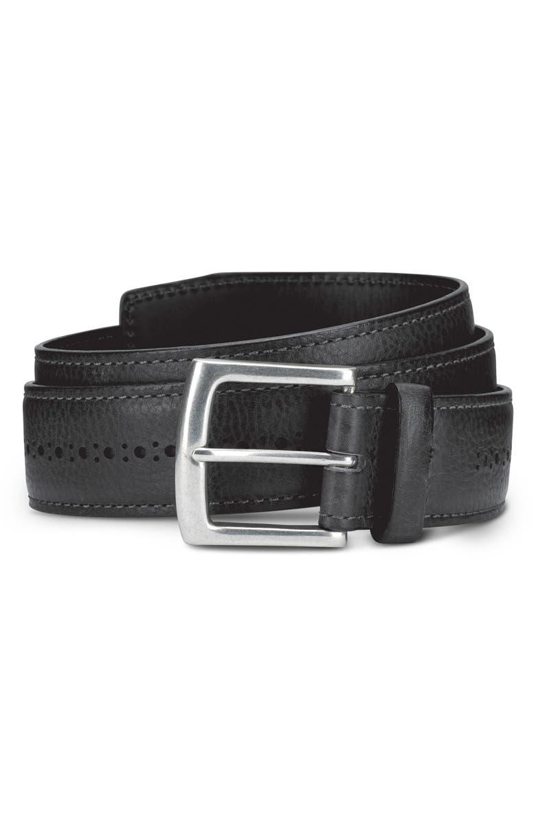 ALLEN EDMONDS Brogue Street Leather Belt, Main, color, BLACK