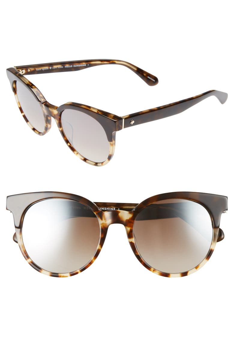 KATE SPADE NEW YORK abianne 51mm round sunglasses, Main, color, BROWN HAVANA
