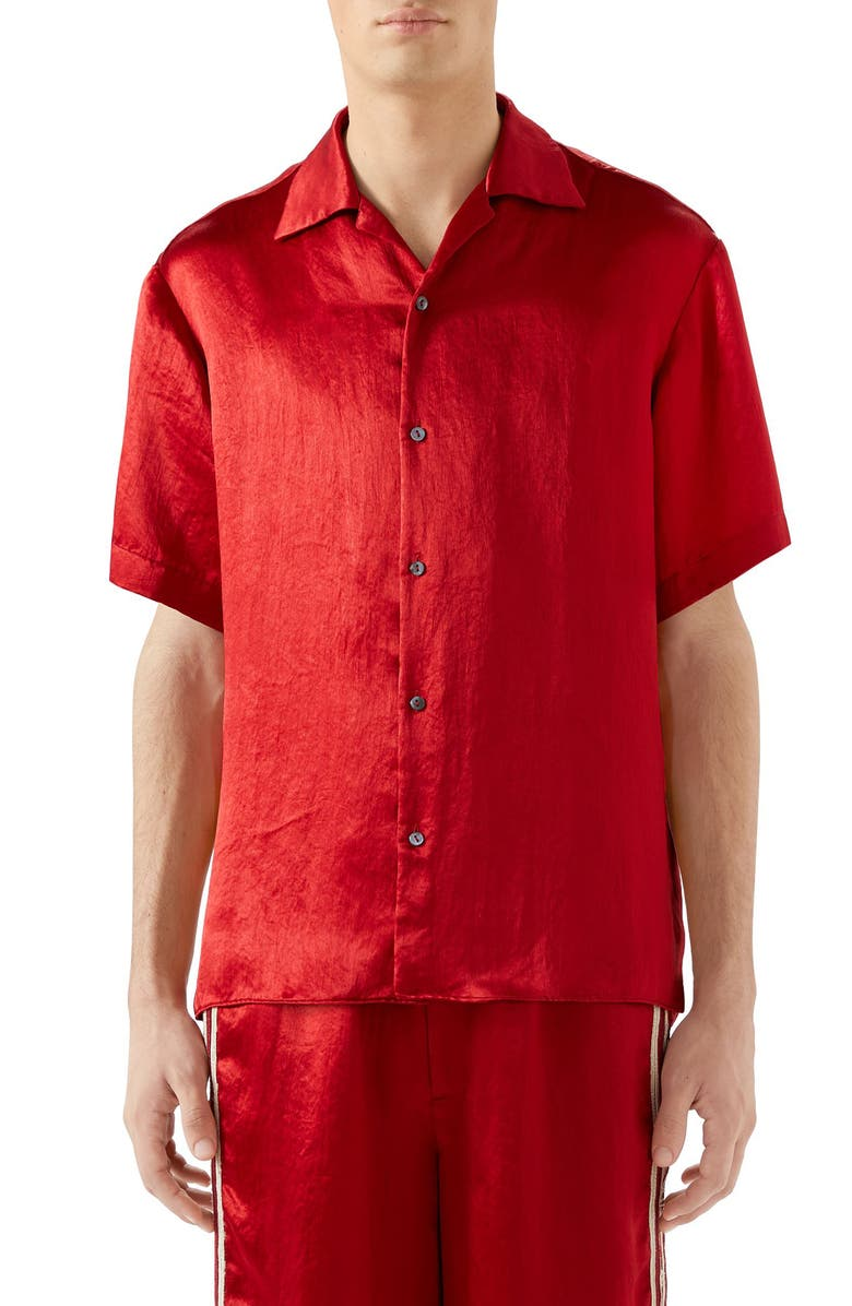 GUCCI Skull Embroidered Satin Bowling Shirt, Main, color, LIVE RED