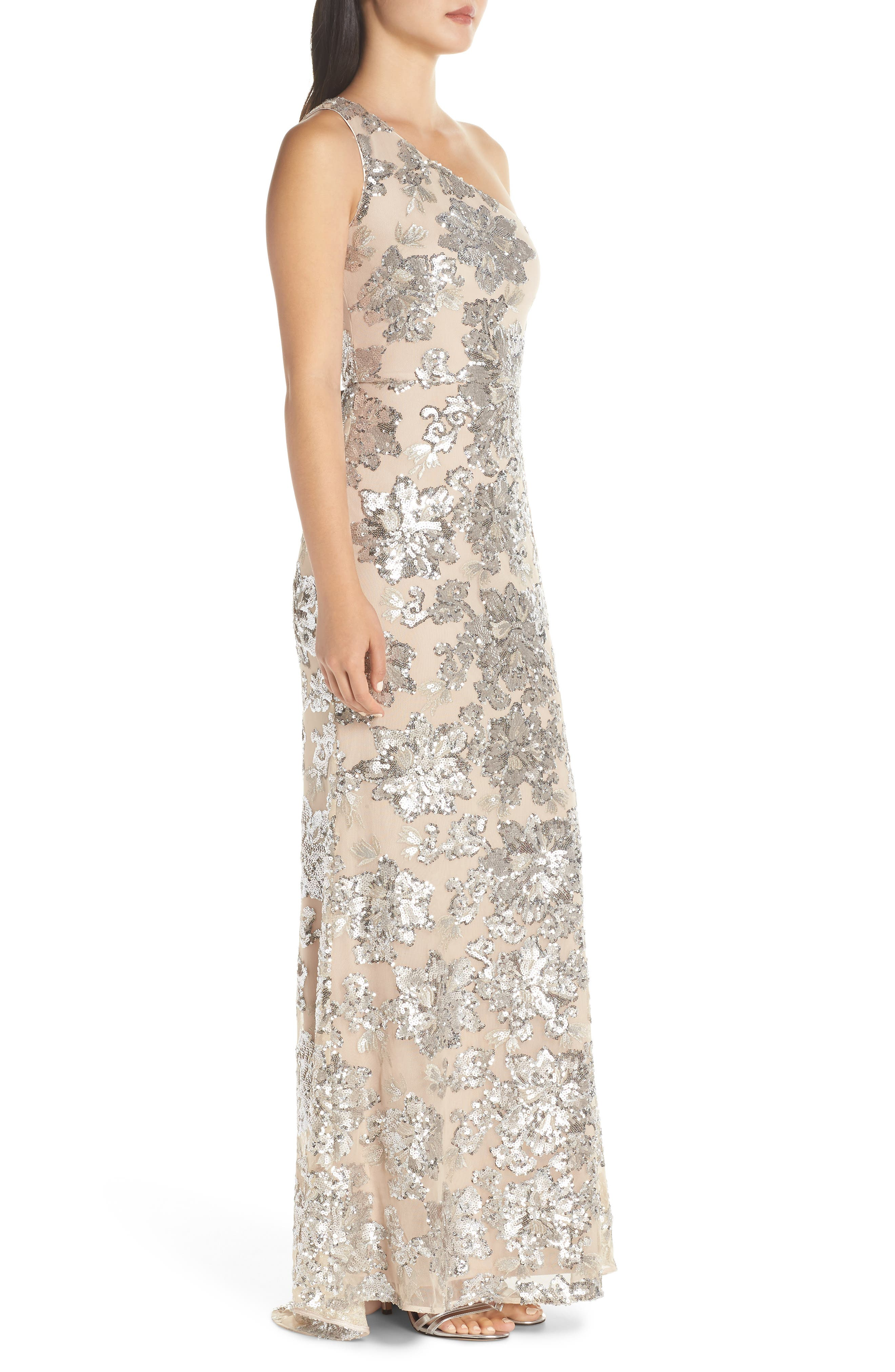 ,                             One-Shoulder Sequin Chiffon Evening Dress,                             Alternate thumbnail 4, color,                             SILVER