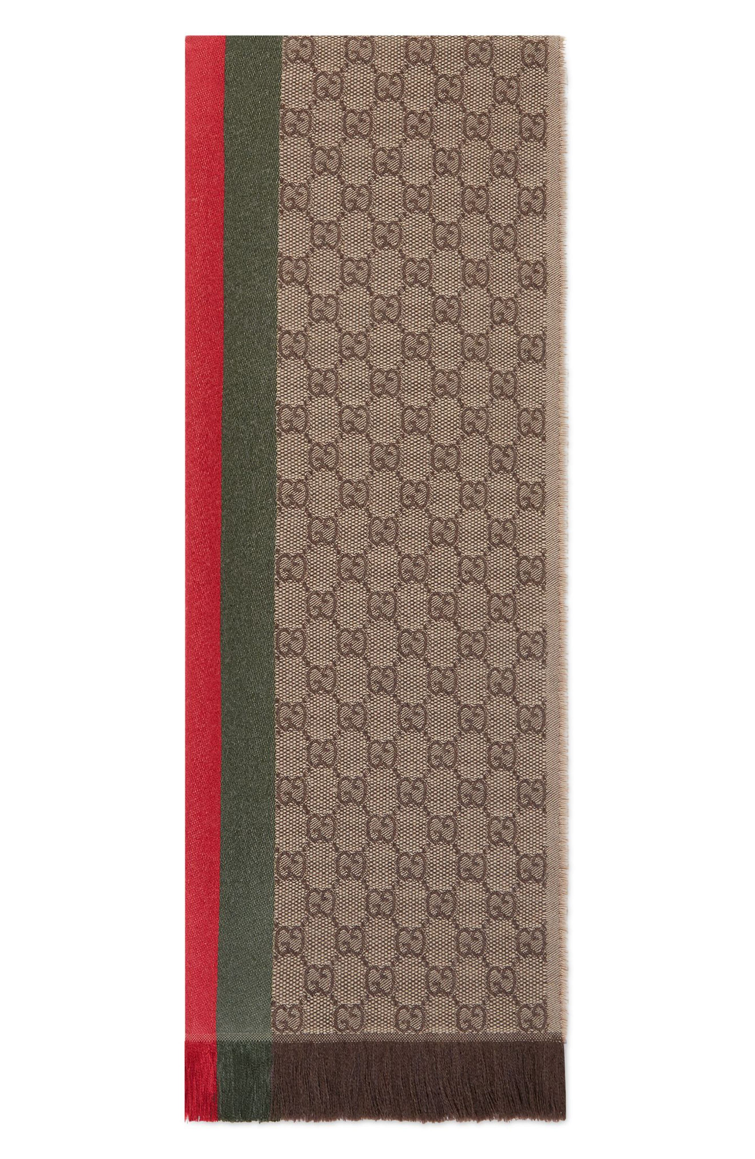 ,                             Verbier Wool & Silk Scarf,                             Alternate thumbnail 3, color,                             LIGHT BROWN/ DARK GREEN