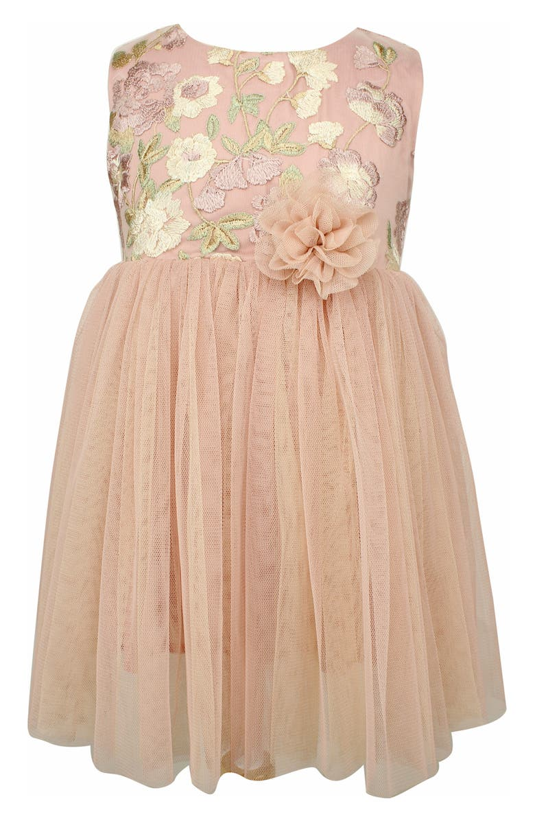 POPATU Embroidered Floral Sleeveless Tulle Dress, Main, color, MAUVE