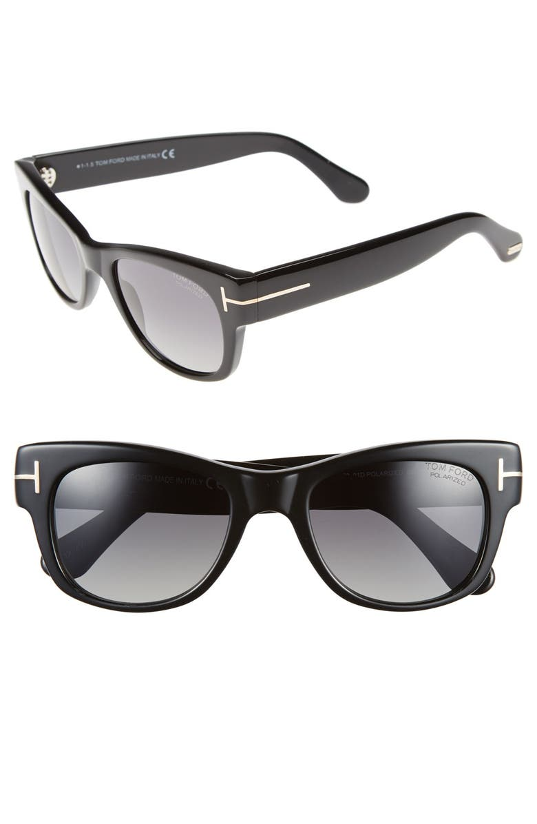 TOM FORD 'Cary' 52mm Polarized Sunglasses, Main, color, 001