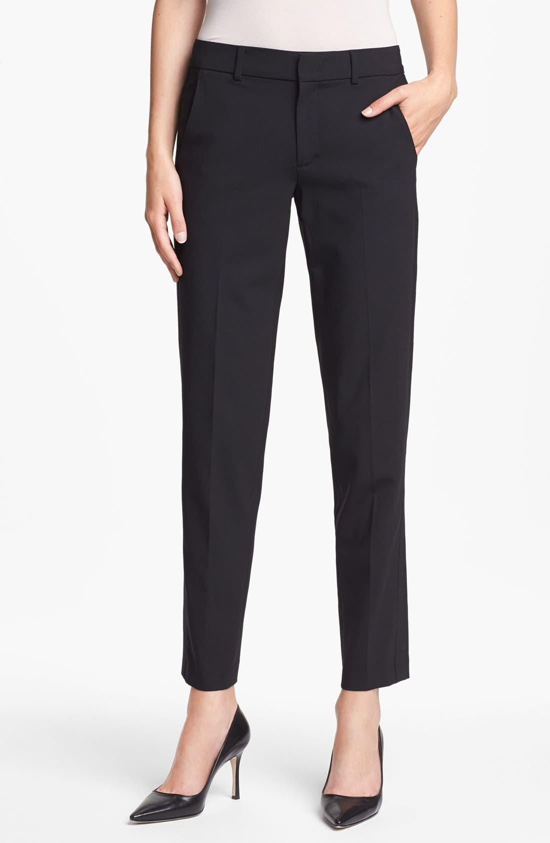 'Strapping' Stretch Wool Trousers, Main, color, 001