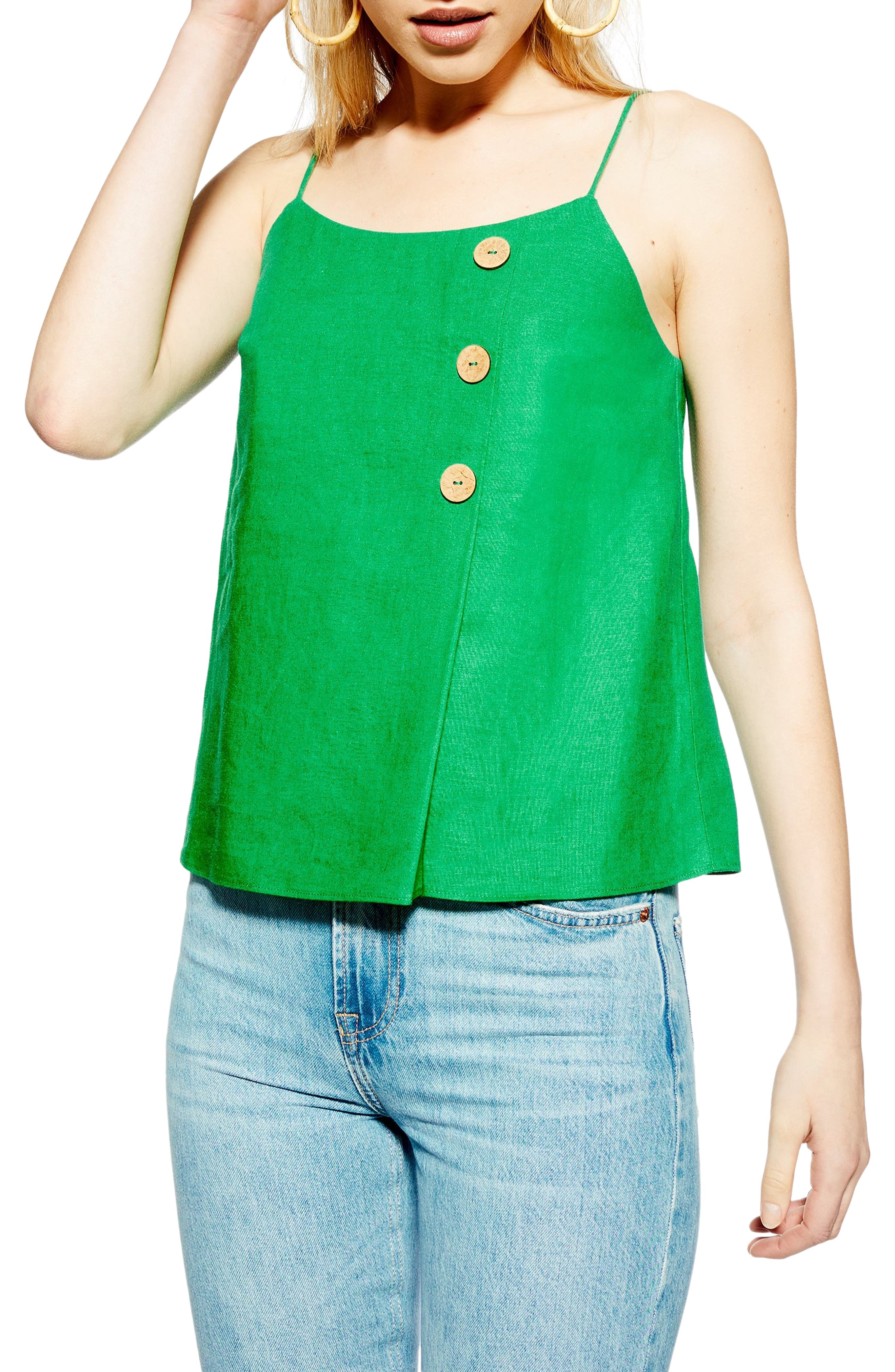 Topshop Button Wrap Camisole Top, US (fits like 14) - Green