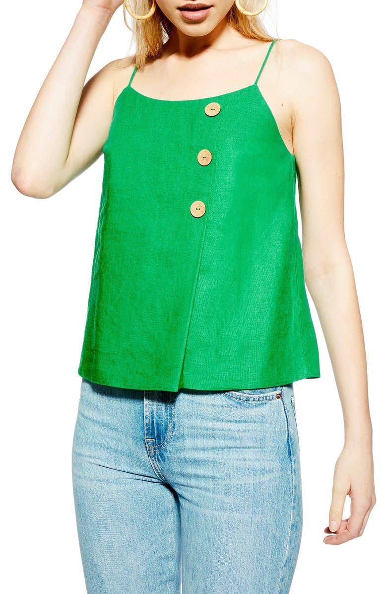 TOPSHOP Button Wrap Camisole Top, Main, color, GREEN
