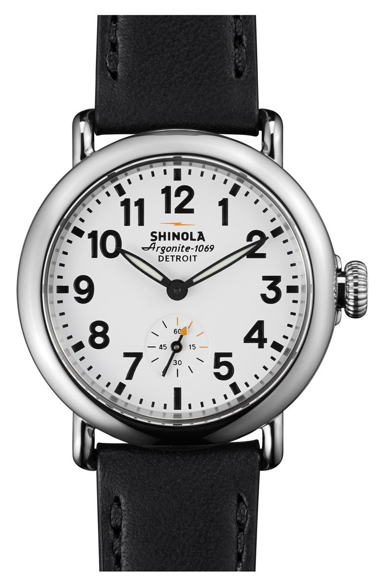 SHINOLA The Runwell Leather Strap Watch, 36mm, Main, color, 001