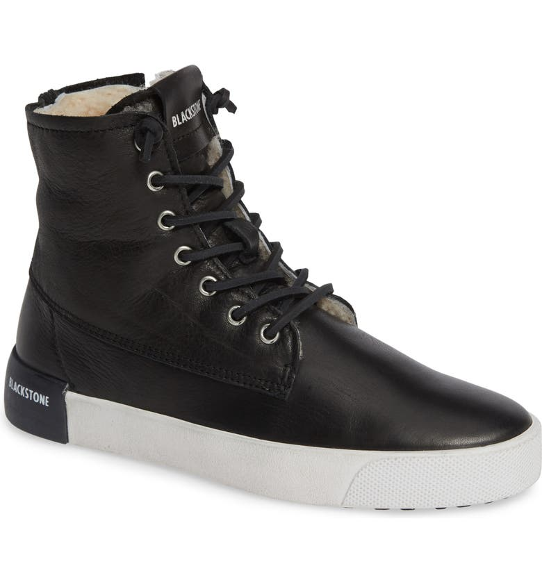 BLACKSTONE QL41 High Top Sneaker with Genuine Shearling Lining, Main, color, 001