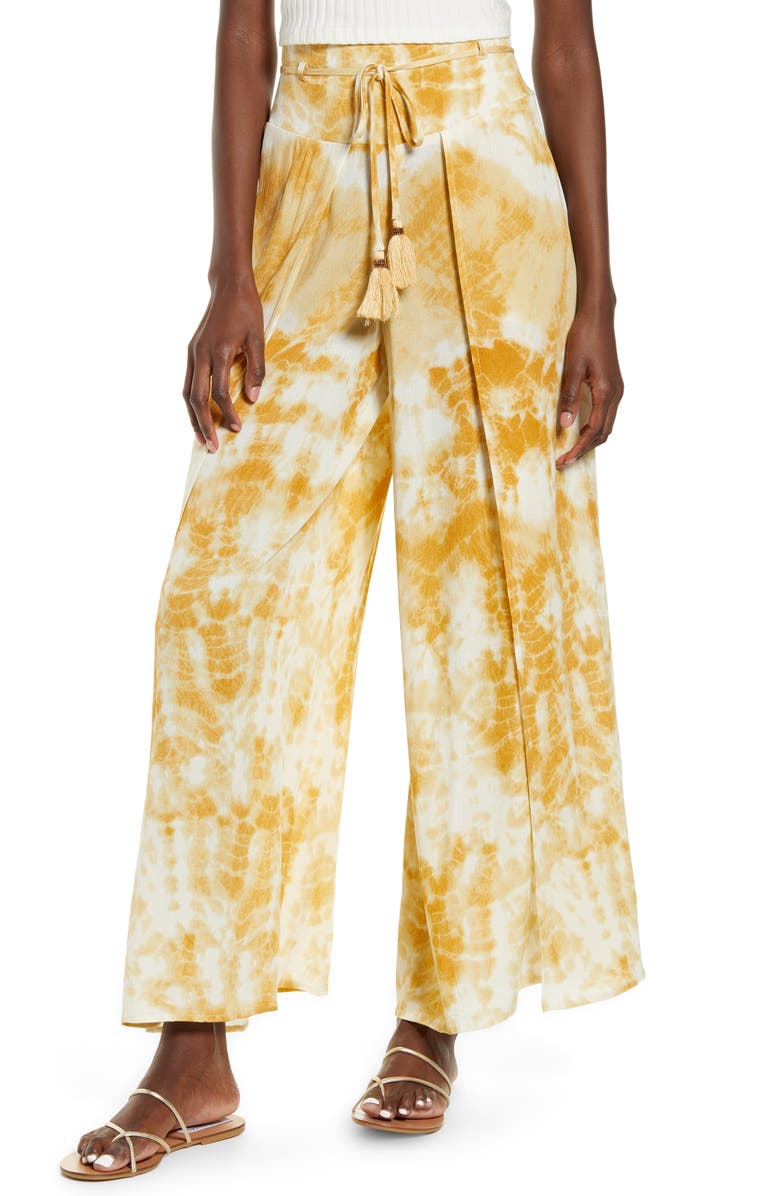 BAND OF GYPSIES Indio Wide Leg Pants, Main, color, GOLD IVORY