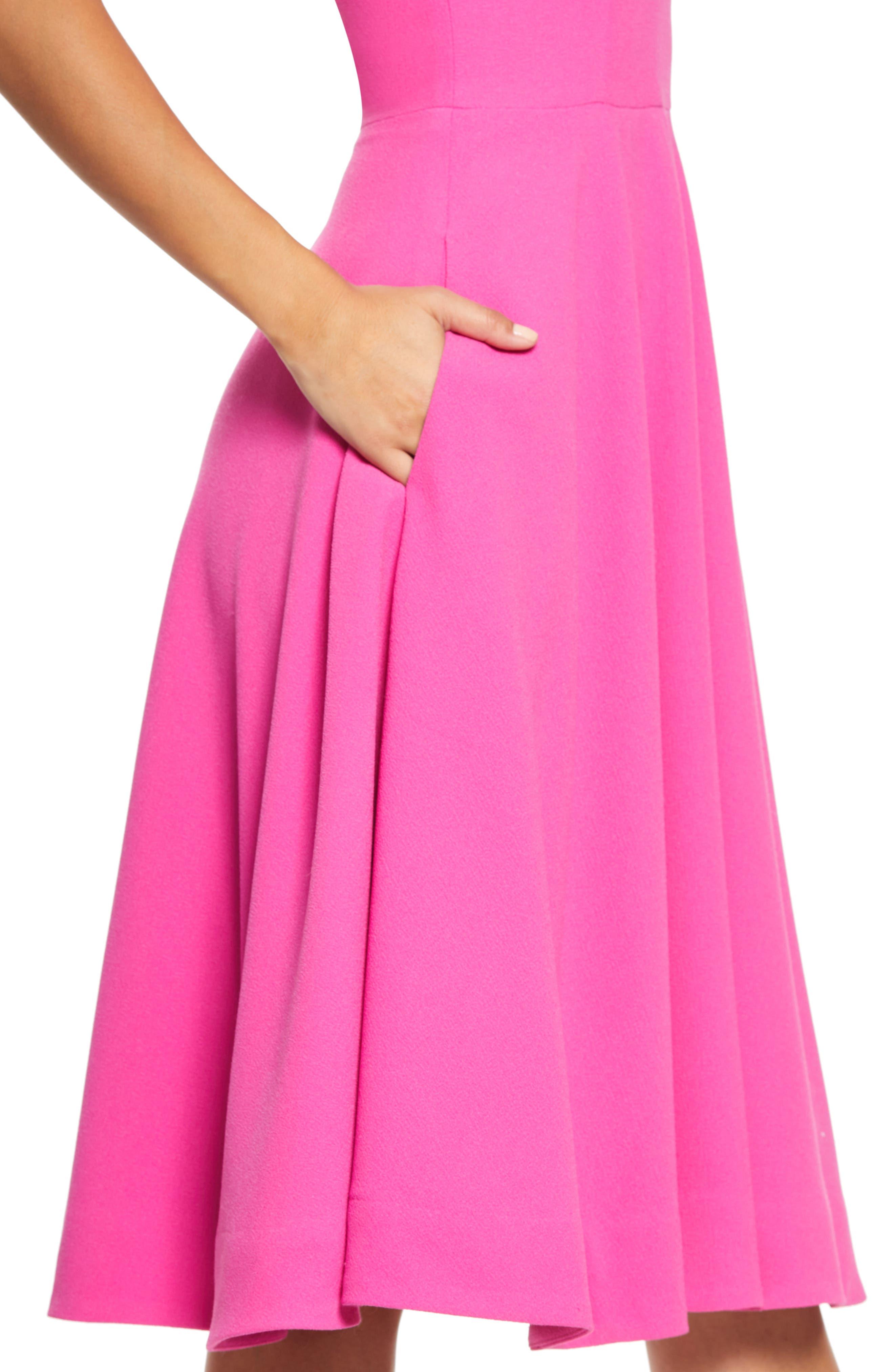 ,                             Catalina Tea Length Fit & Flare Dress,                             Alternate thumbnail 5, color,                             BRIGHT FUCHSIA