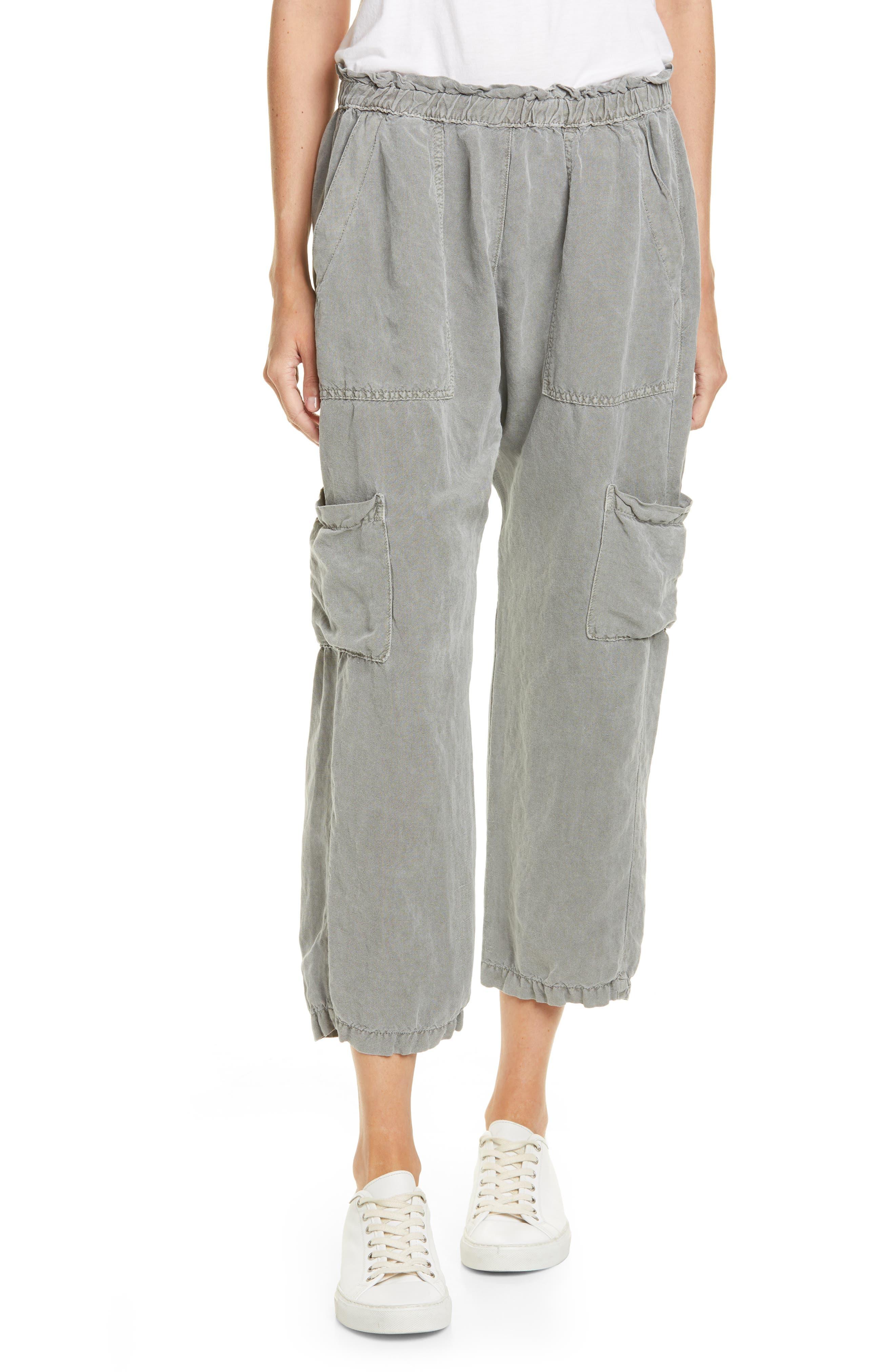 Nsf Clothing Shailey Paperbag Waist Linen Blend Crop Cargo Pants, Green