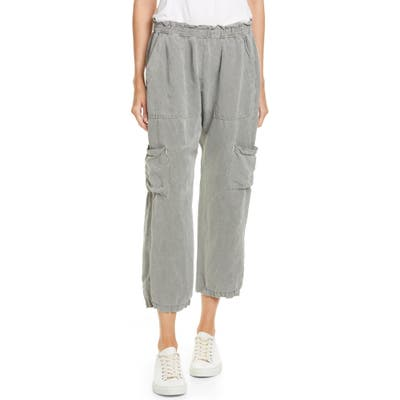 Nsf Clothing Shailey Paperbag Waist Linen Blend Crop Cargo Pants, Green
