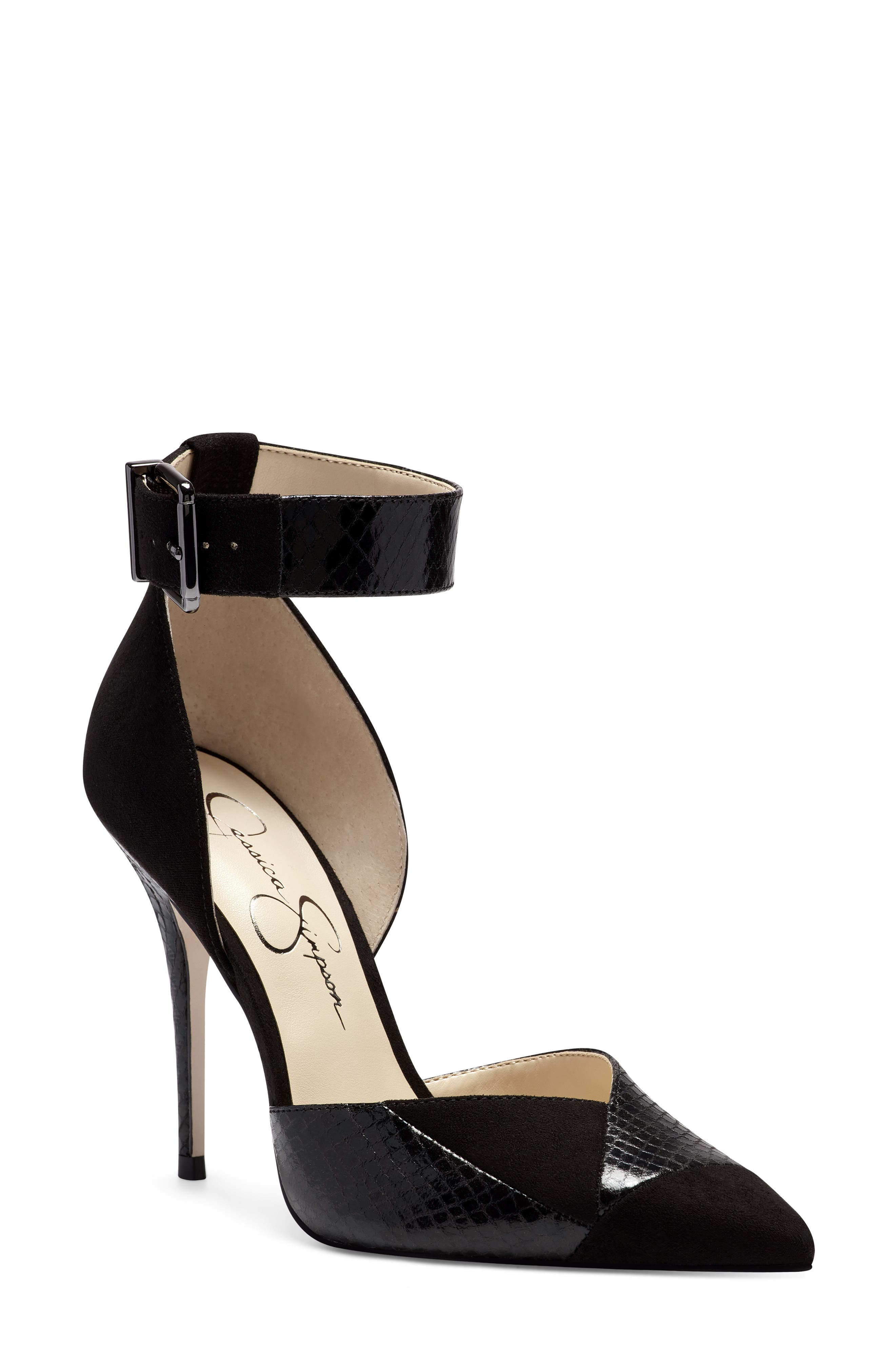 Image of Jessica Simpson Snake Embossed Ankle Strap Pump