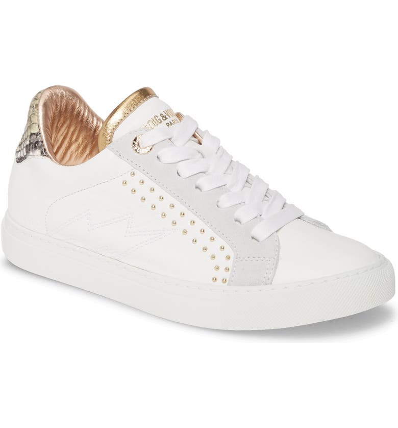 ZADIG & VOLTAIRE Back Wild Studded Sneaker, Main, color, 116