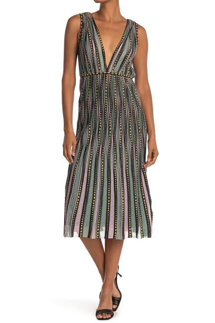 Image of M Missoni Patterned Plunge Neck Midi Dress