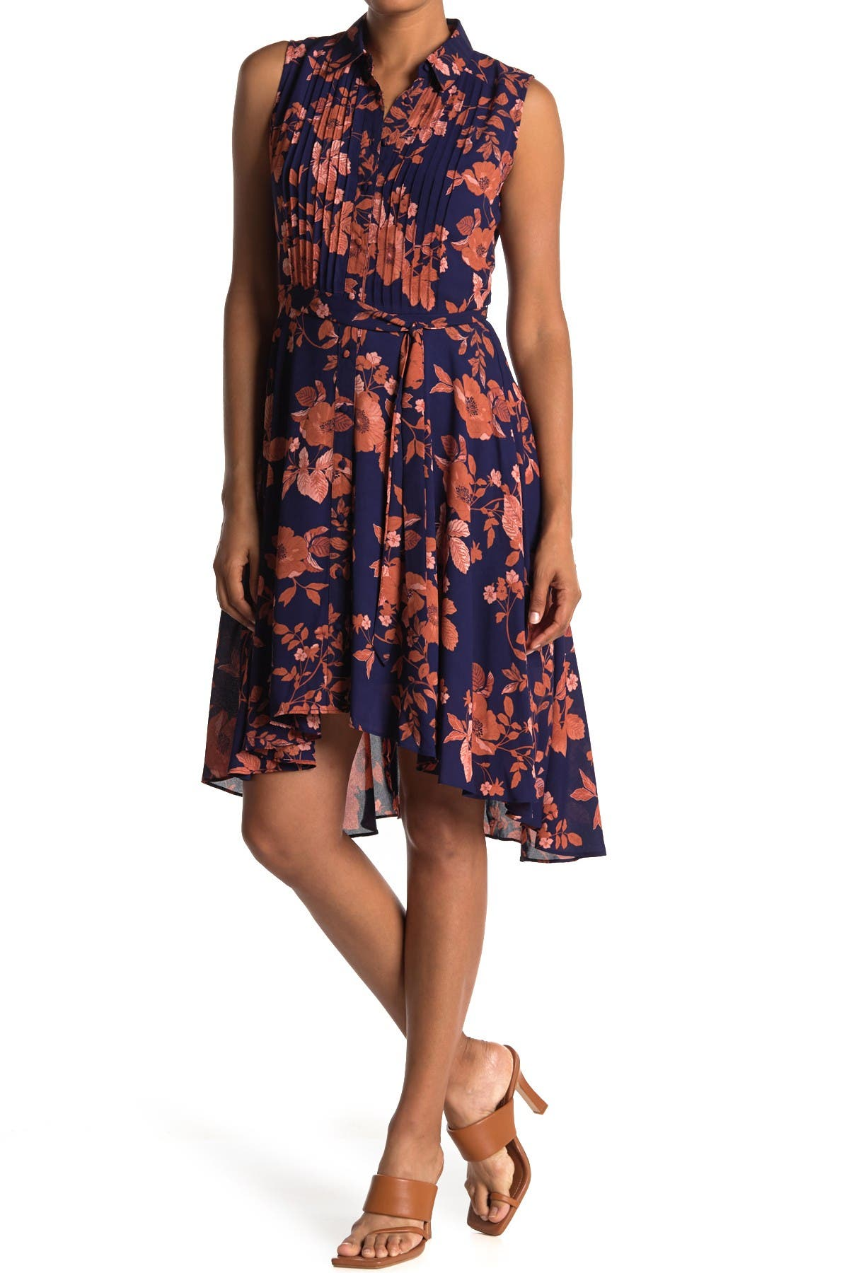 Image of NANETTE nanette lepore Pintuck Pleated High/Low Dress