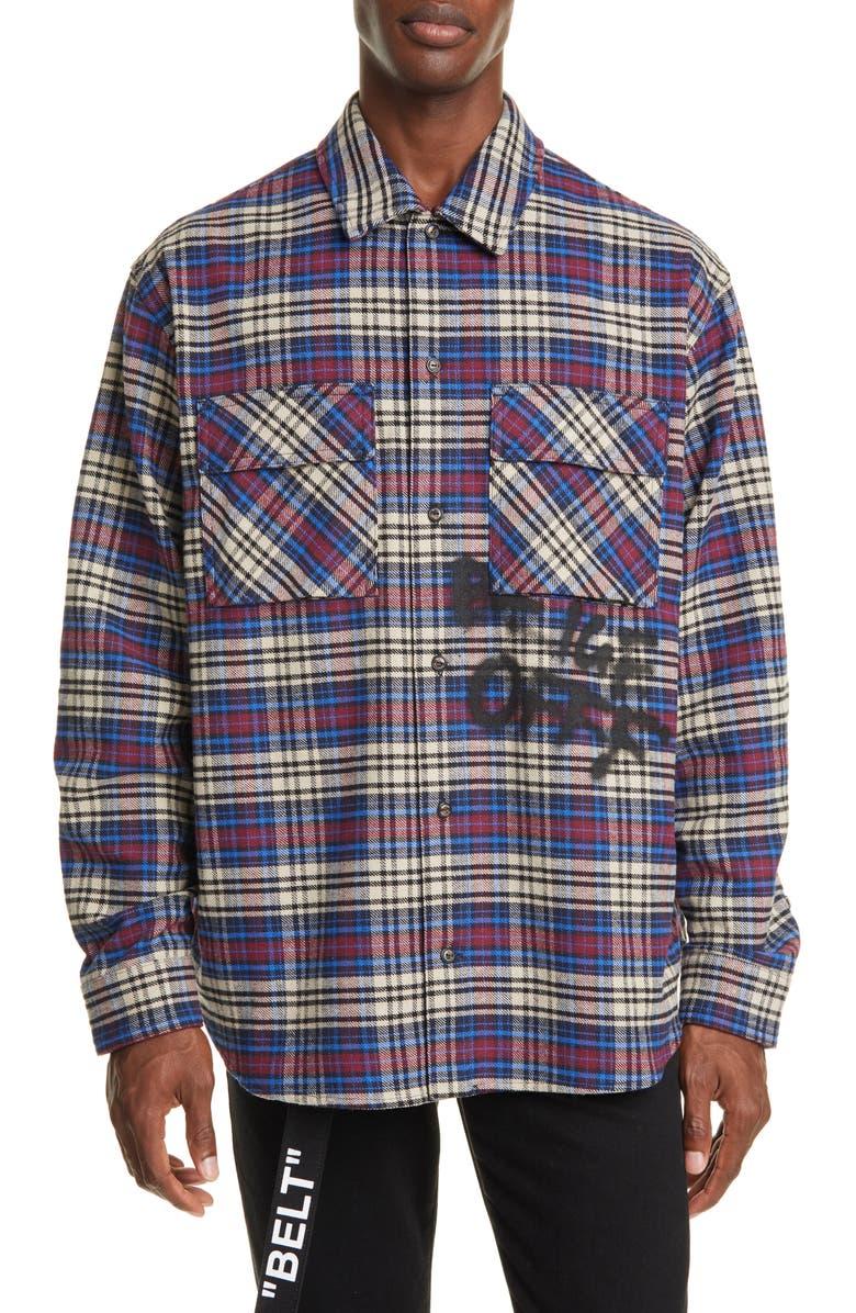 OFF-WHITE Button-Up Plaid Flannel Shirt, Main, color, BLUE/ BLACK