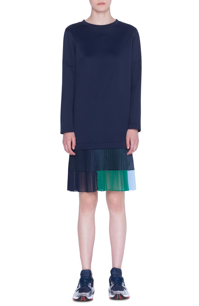 AKRIS PUNTO Long Sleeve Pleated Flounce Neoprene Dress, Main, color, NIGHT SKY MULTI