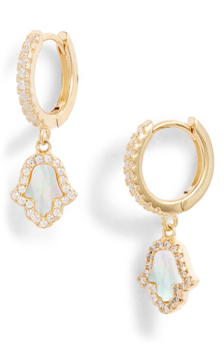 ADINA'S JEWELS Adina's Jewels Hamsa Huggie Earrings, Main, color, 710
