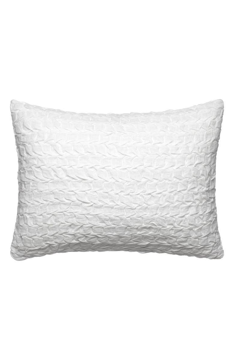 VERA WANG Linear Tucks Crinkle Accent Pillow, Main, color, WHITE