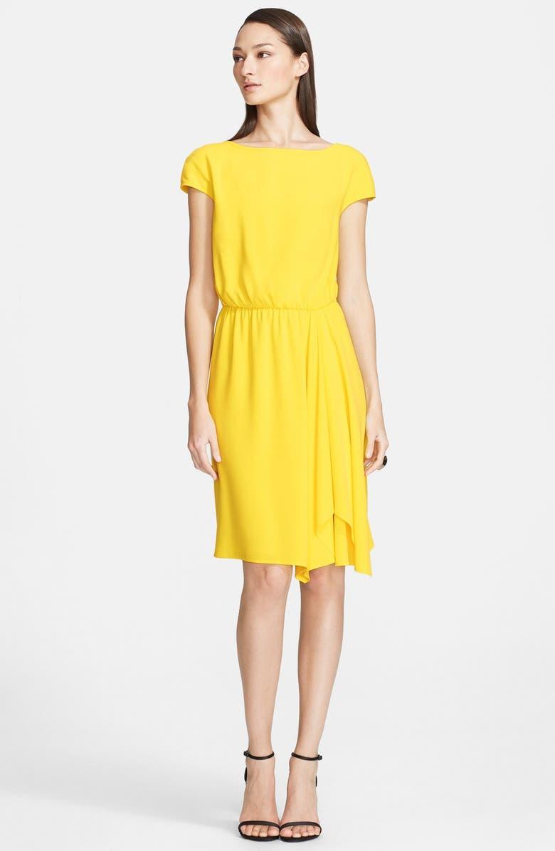 ST. JOHN COLLECTION Bateau Neck Luxe Crepe Blouson Dress, Main, color, 700