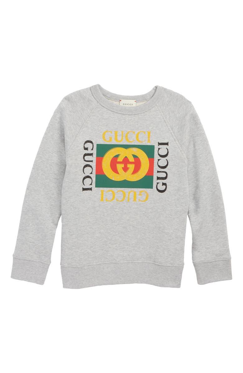 GUCCI Logo Graphic Sweatshirt, Main, color, LIGHT GREY/ GREEN/ RED