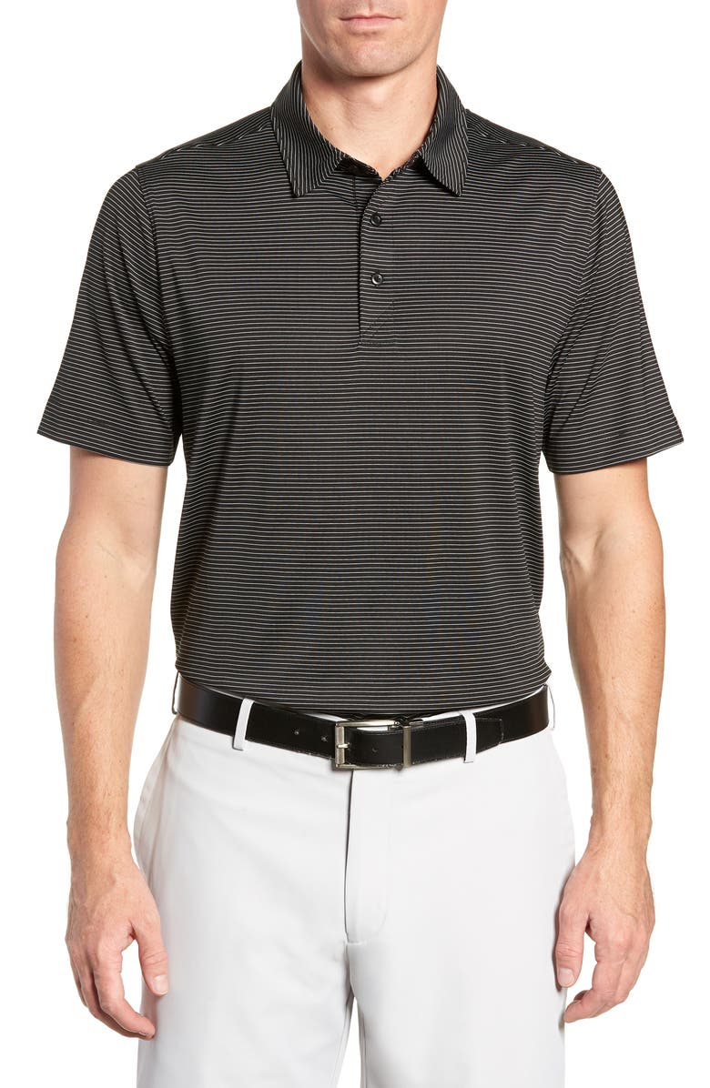 CUTTER & BUCK Prevail Regular Fit Stripe Polo, Main, color, BLACK