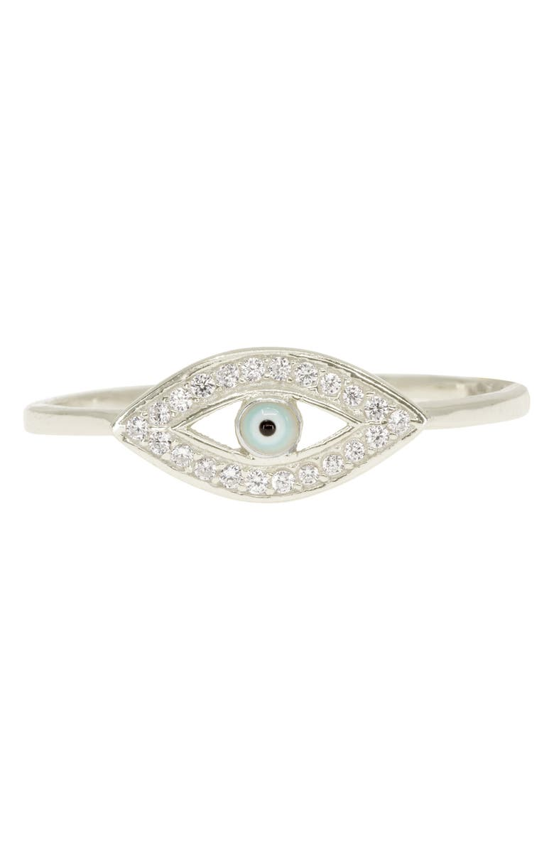 RAGEN JEWELS Evil Eye Pavé Ring, Main, color, SILVER