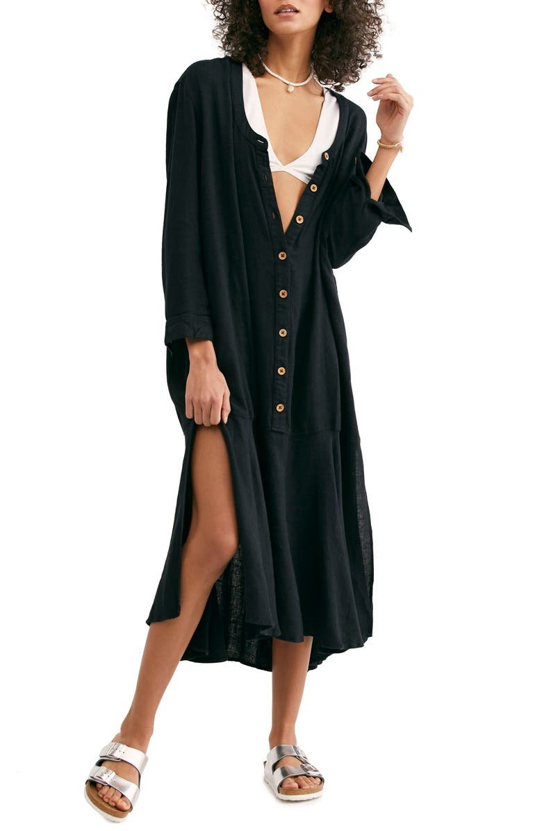 FREE PEOPLE Endless Summer by Free People Mathilda Henley Shirtdress, Main, color, BLACK