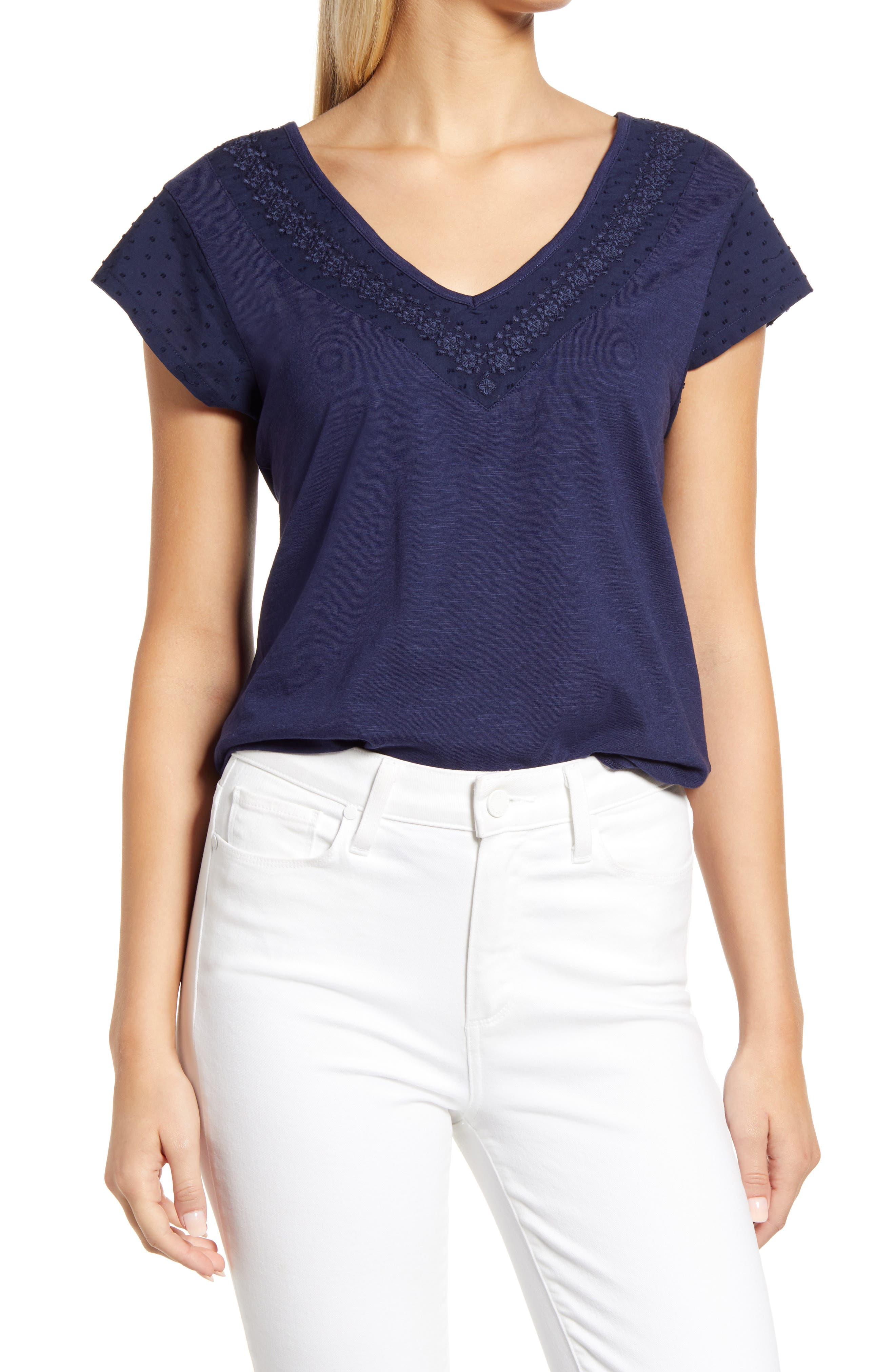 Women's Caslon Embroidered Neck Short Sleeve Cotton Blend Top
