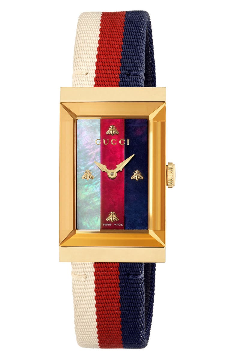 GUCCI G-Frame Nylon Strap Watch, 21mm x 34mm, Main, color, WHITE/ MOP/ GOLD