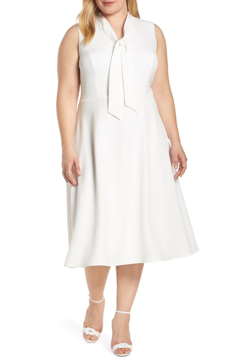 MAGGY LONDON Ruthie Tie Neck Crepe Dress, Main, color, SOFT WHITE