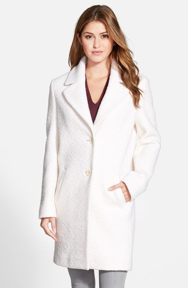 T TAHARI 'Chloe' Single Breasted Bouclé Coat, Main, color, 101