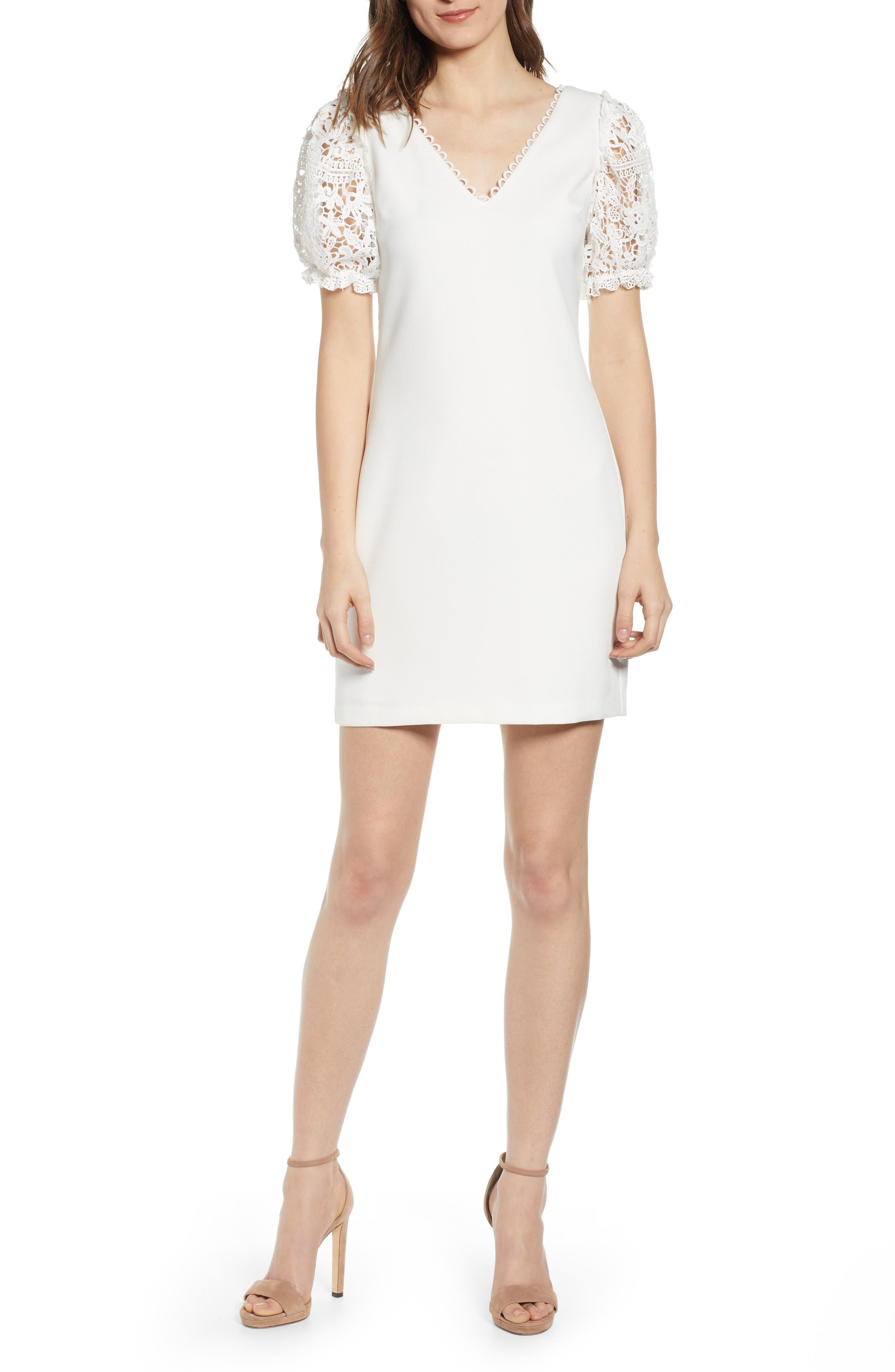 Endless Rose Lace Sleeve Minidress, White