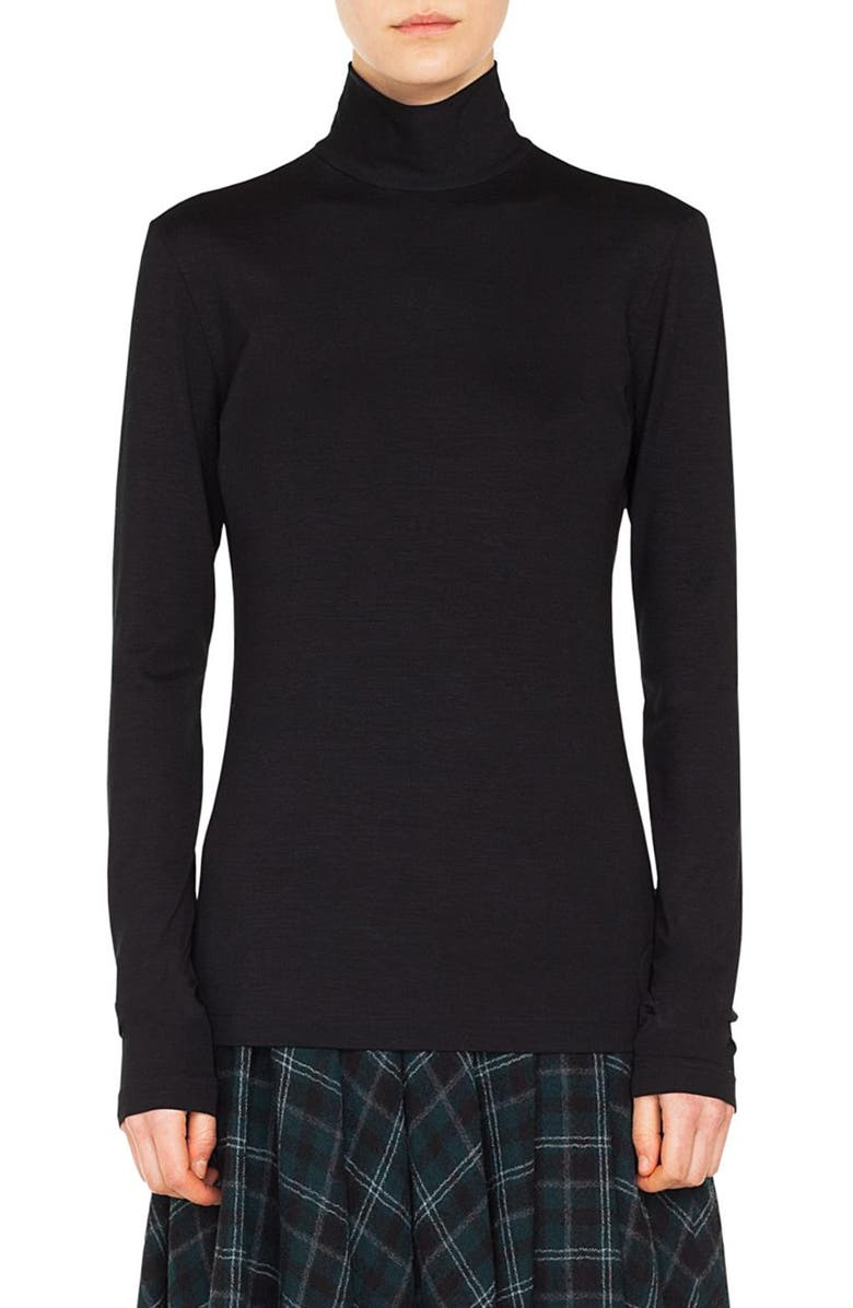 AKRIS PUNTO Stretch Modal Turtleneck, Main, color, BLACK