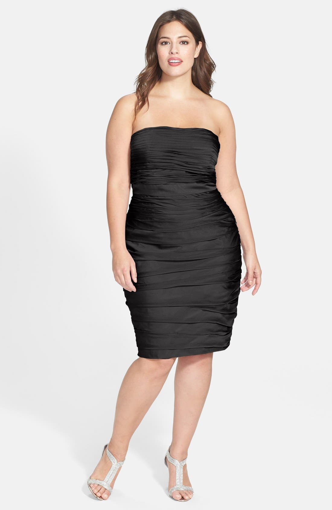 ,                             Ruched Strapless Cationic Chiffon Dress,                             Alternate thumbnail 3, color,                             001