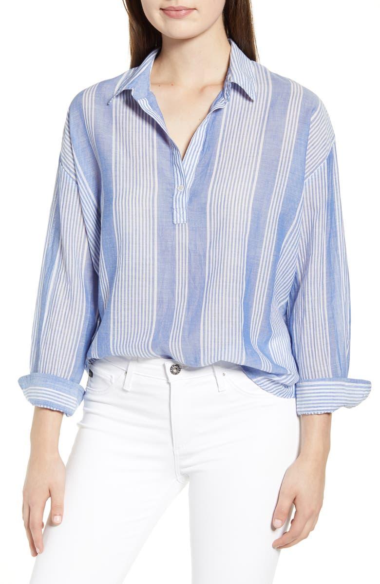 VELVET BY GRAHAM & SPENCER Stripe Split Neck Cotton Blouse, Main, color, BLUE