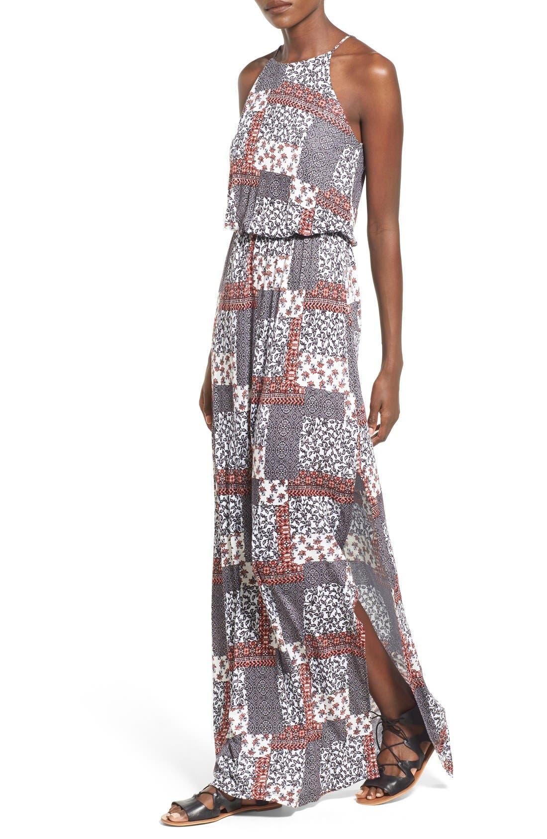 ,                             High Neck Maxi Dress,                             Alternate thumbnail 55, color,                             220