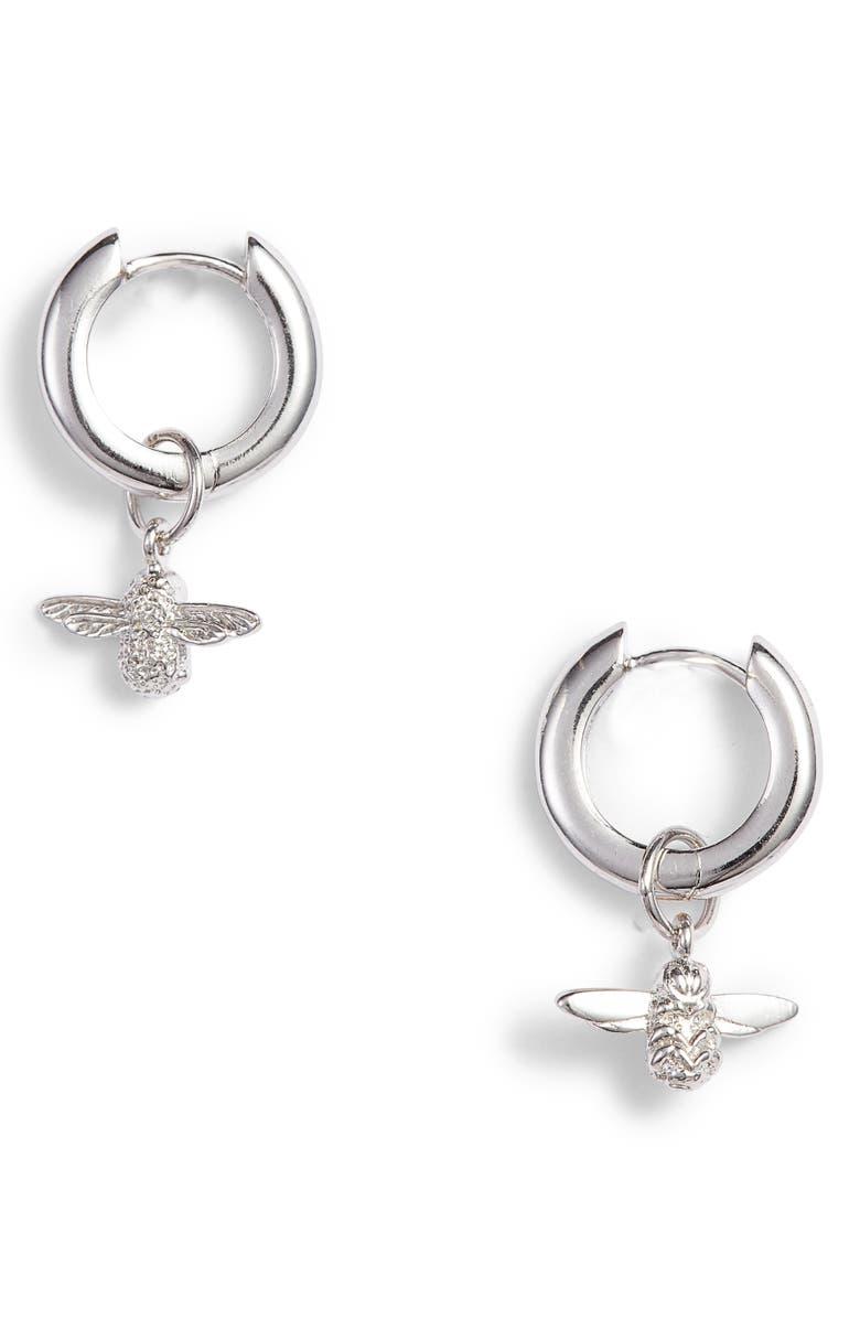 OLIVIA BURTON 3D Huggie Hoop Earrings, Main, color, SILVER