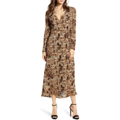 All In Favor Long Sleeve Midi Wrap Dress, Brown