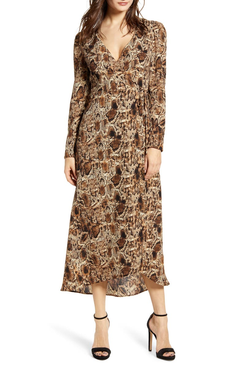 ALL IN FAVOR Long Sleeve Midi Wrap Dress, Main, color, SNAKE