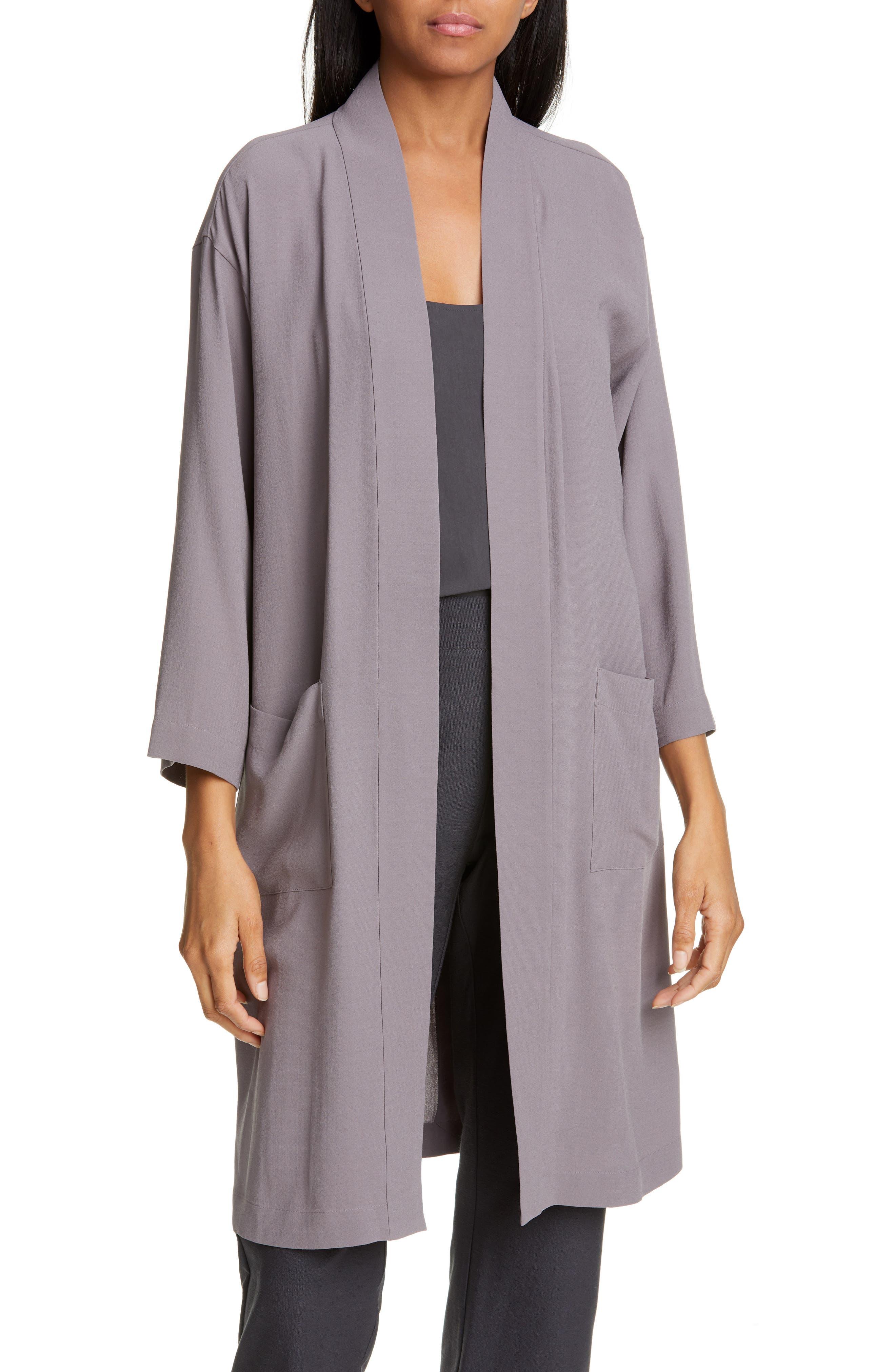 women's eileen fisher silk jacket, size xx-small - grey